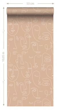 ESTA art deco wallpaper faces beige and white