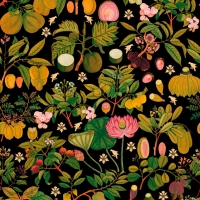 Luxebehang Aziatische bloemen en fruit antraciet