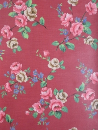 Vintage floral wallpaper with pink, blue and beige flowers
