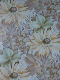 Papier peint vintage grandes fleurs orange, vert, brun et papillons