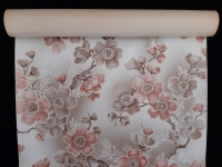 Vintage floral wallpaper with brown and pink flowers