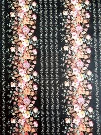 Vintage behang met fijne roze en blauwe bloemen