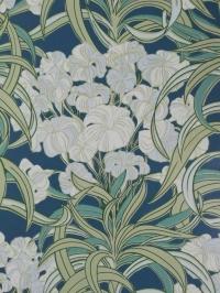 Vintage behang met sierlijke blauwe en groene bloemen