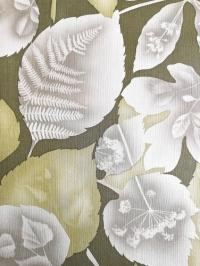 Vintage behang met groene en grijze bladeren