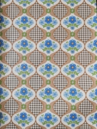 Vintage wallpaper with blue flowers