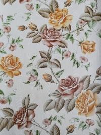 Vintage behang met roze en bruine rozen