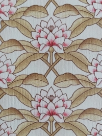 Vintage wallpaper with pink and beige lotus flowers