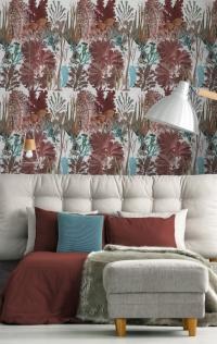 Luxebehang koraalrif rood