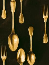 Brasserie behang bestek goud