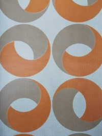 geometric vintage wallpaper orange beige rings