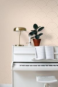 Beige with copper arches art deco wallpaper