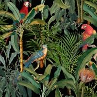 Luxebehang Parrots of Brasil Anthraciet