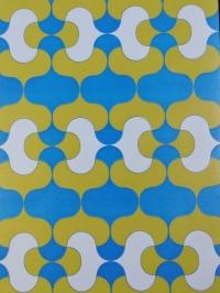 Papier peint vintage géometrique bleu ver