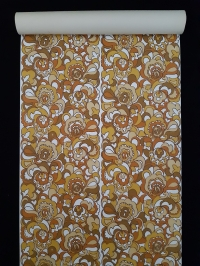 Papier peint vintage geometrique brun et jaune