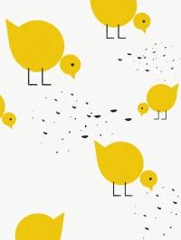 LAVMI behang gele vogelitjes op een witte achtergrond