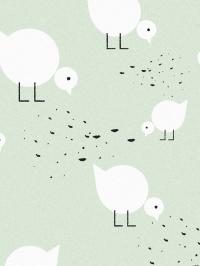 LAVMI behang witte kuikens op een groene achtergrond