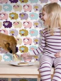 papier peint pour enfants LAVMI moutons purpre et rose