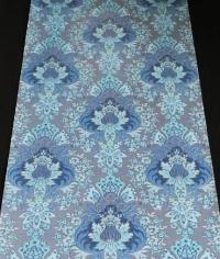 Blue and bronze floral damask vintage wallpaper