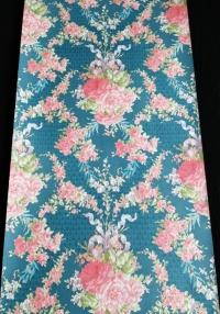 Papier peint vintage damassé bleu rose