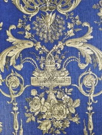 Blue and gold damask vintage wallpaper