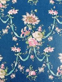 Blue and pink damask vintage wallpaper