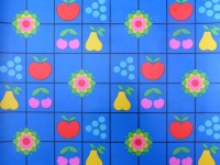 fruit en bloemen op een blauwe achtergrond
