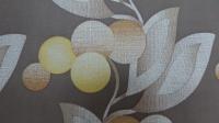 bruin geel bloemenbehang vintage