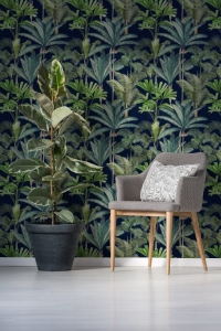 Luxebehang Beverly Palmeras Anthraciet