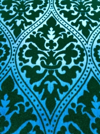 Blauw en groen fluweel behang