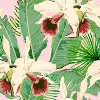 Luxebehang Tropical island roze