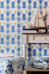 Papier peint de luxe Mykonos villa bleu-jaune