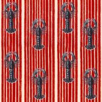Luxebehang met kreeften op een rode achtergrond