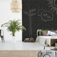 Afwasbaar zwarte stenen behang