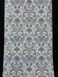 blue grey gold medallion wallpaper