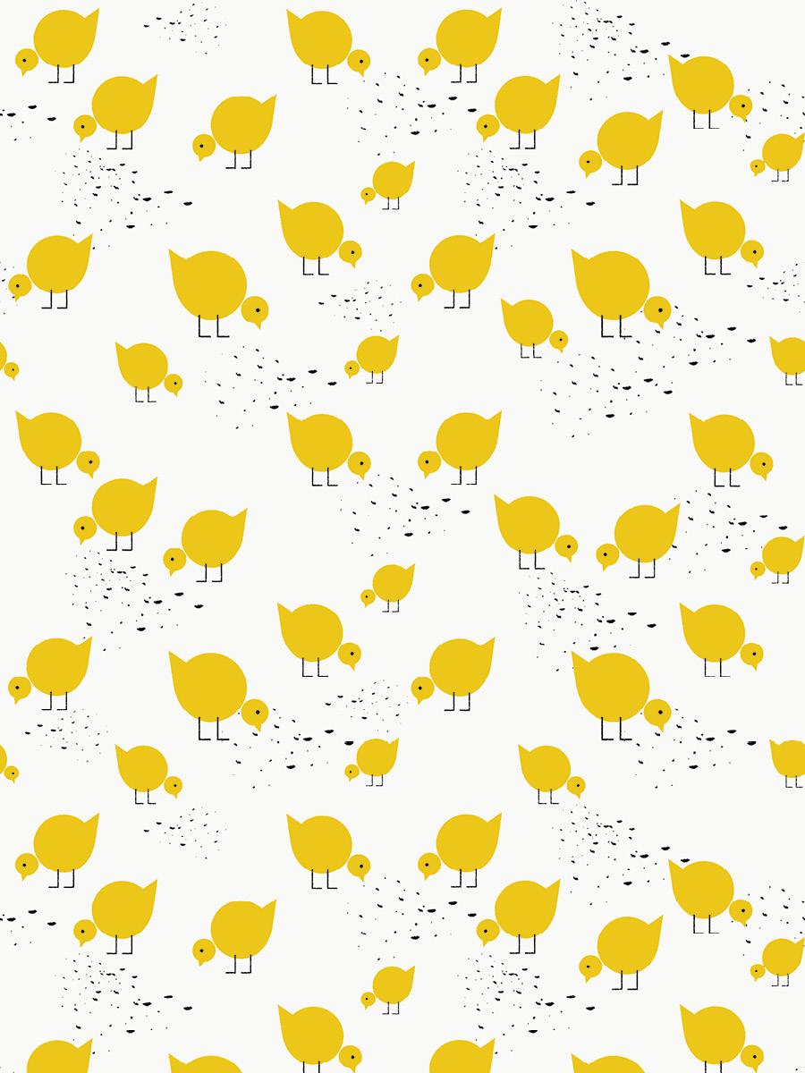 LAVMI behang gele vogelitjes op een witte achtergrond - Funkywalls ...