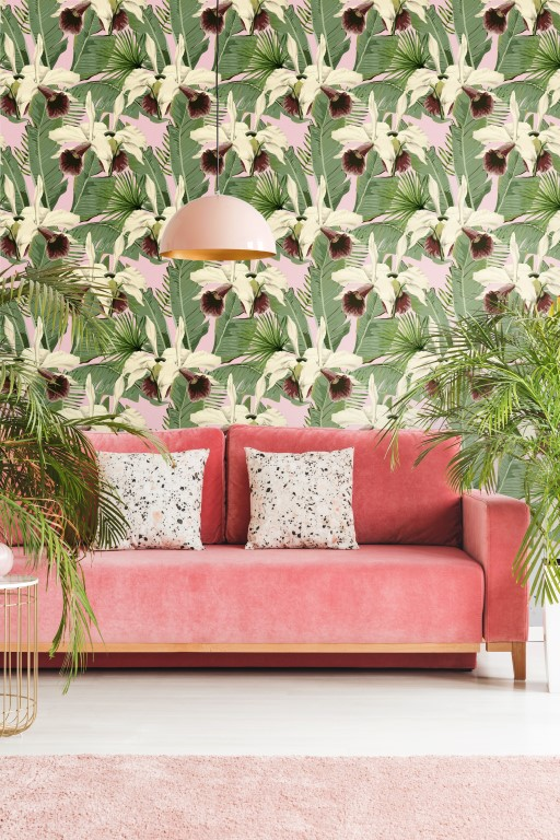 Papier Peint De Luxe Tropical Island Rose Funkywalls De Webshop