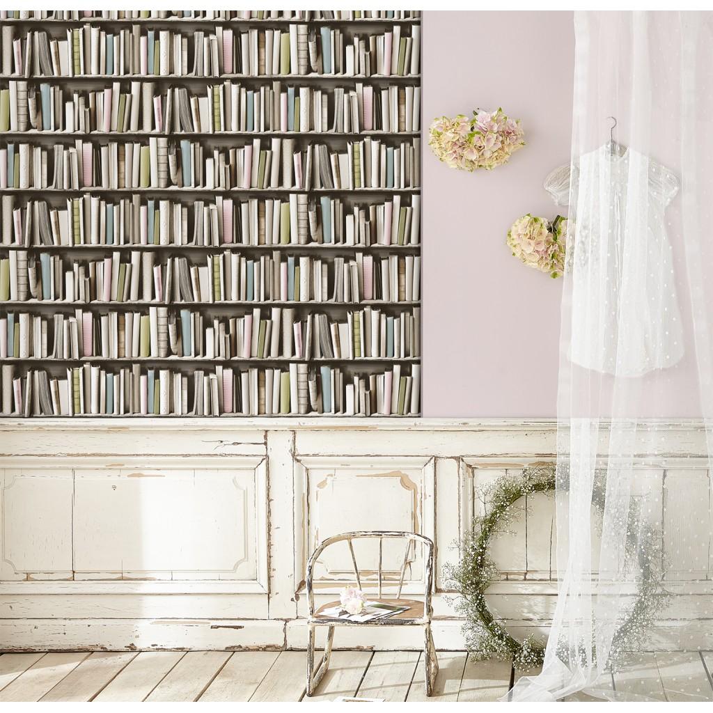 vintage boekenkast behang zoom vergroot de foto