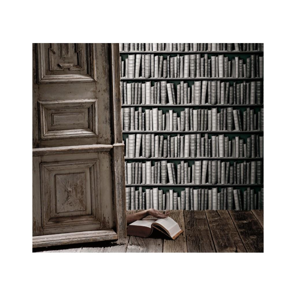 zwartwit boekenkast behang zoom vergroot de foto