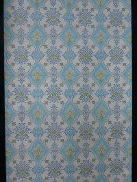 blue yellow damask vintage wallpaper