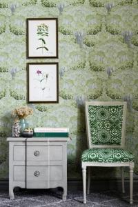 Premium wallpaper Savage leaves green