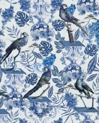 Luxebehang La volière blauw