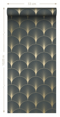ESTA art deco wallpaper dark blue and gold