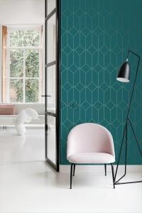 ESTA art deco wallpaper petrol blue with golden lines