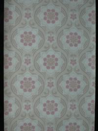 Grijs roze medaillon met bloem vintage behang