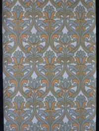Grijs oranje medaillon met gestyleerde bloem vintage behang