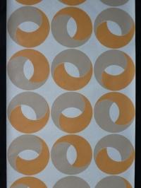 Vintage geometrisch behang oranje grijze ringen