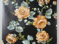 Papier peint vintage fleurs brun sur un fond noir