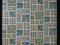 Papier peint vintage petites fleurs bleu et rose