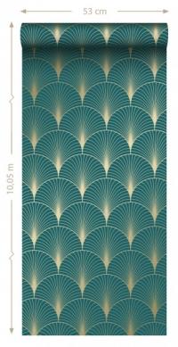 ESTA art deco wallpaper petrol blue and gold