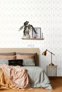 ESTA wit met gouden lijnen art deco behang